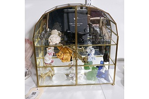 Franklin Mint Curio Cat Cabinet with 15 Cat Figures