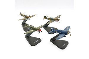 Four Air Combat Collection Model Planes, F-4U Corsair, P-51 Mustang, P-40 Warhawk and Spitfire