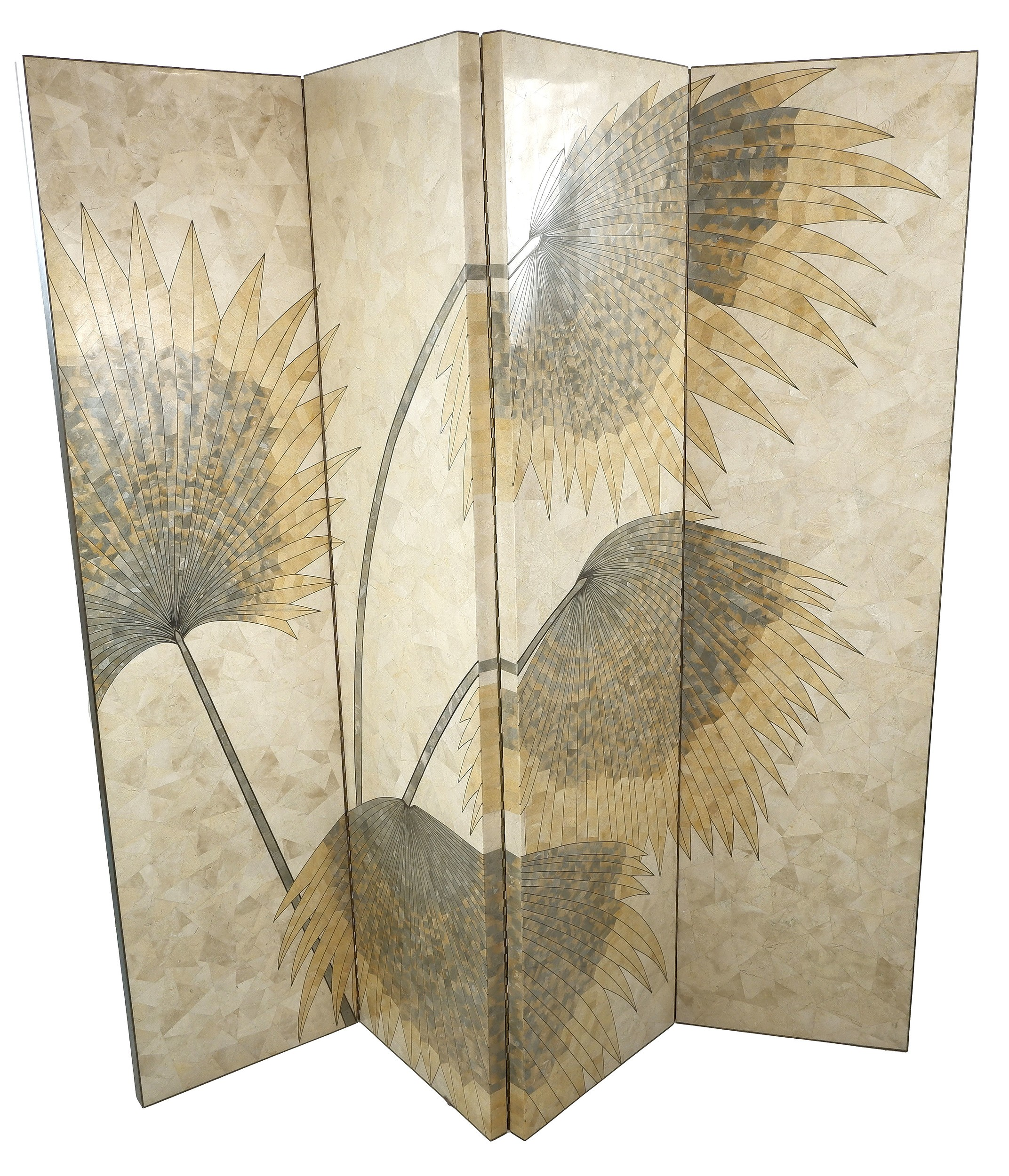 'Impressive Bespoke Marble and Stone Marquetry Inlaid Four-fold Floor Screen with Palm Leaf Design, Circa 1985'