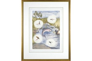 Chris Hole (20th Century, Australian), Flies for Monaro Alpine Streams, 1989, Watercolour