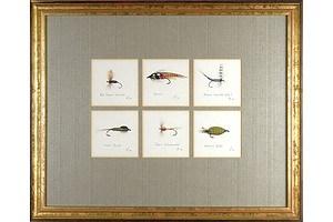 Chris Hole (20th Century, Australian), Six Trout Flies No 4, 1989, Watercolour