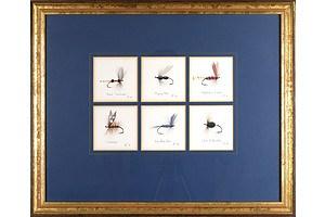 Chris Hole (20th Century, Australian), Six Trout Flies No 5, 1989, Watercolour