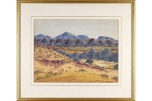 Keith Namatjira (1938-1977), Central Australian Landscape, Watercolour