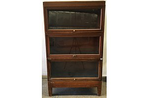 Vintage Lycoming Furniture Company Adjustable Size Glass Fronted Barristers Cabinet