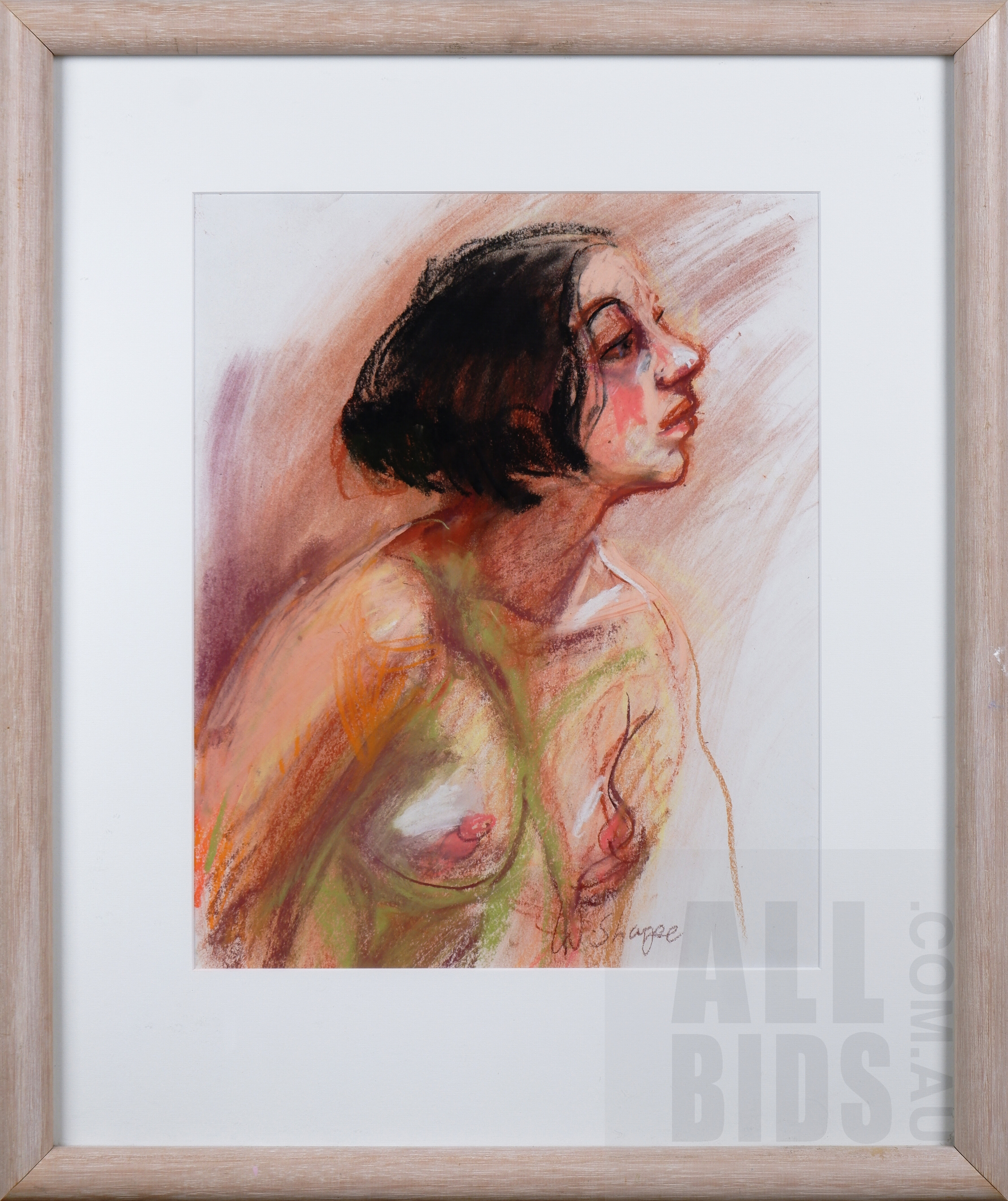 'Wendy Sharpe (born 1960), Untitled (Nude), Pastel, 35 x 29 cm'