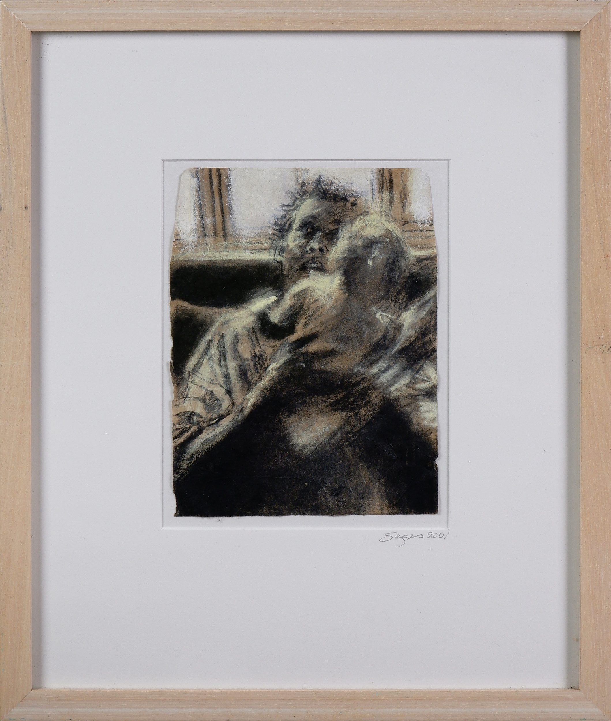 'Jenny Sages (born 1933), My Children Have Gone to Toowoomba, 2001, Charcoal & Pigment on Tibetan Envelopes, 20 x 15 cm'