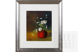 Beverley McMartin, Daisies in Red Vase, Oil on Card, 23 x 19 cm