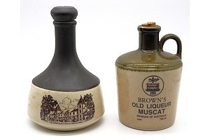 Browns Old Liqueur Muscat and kaiser Stuhl Port - 750ml in Stoneware Decanters (2)