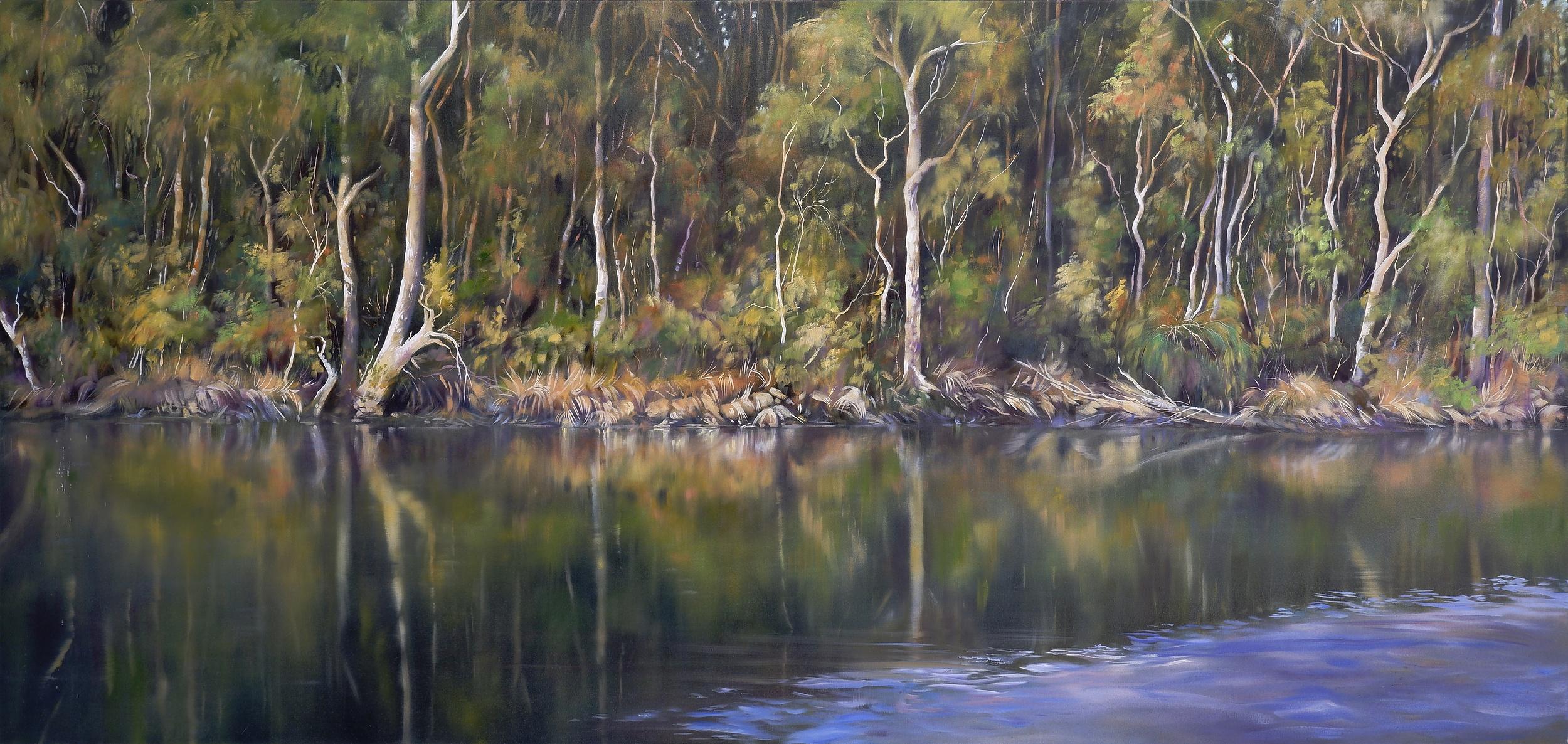 'Tanya Nelipa (born 1956), Bermagui River, Oil on Canvas, 101 x 213 cm'
