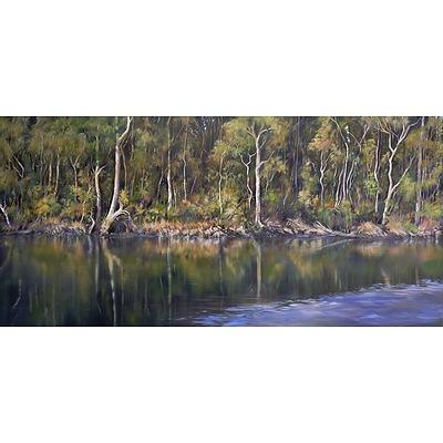 Tanya Nelipa (born 1956), Bermagui River, Oil on Canvas, 101 x 213 cm