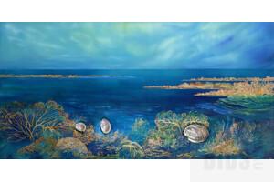 Tanya Nelipa (born 1956), Turquoise Waters 2014, Mixed Media on Canvas