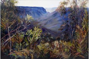 Tanya Nelipa (born 1956), Distant Gorge, Oil on Canvas