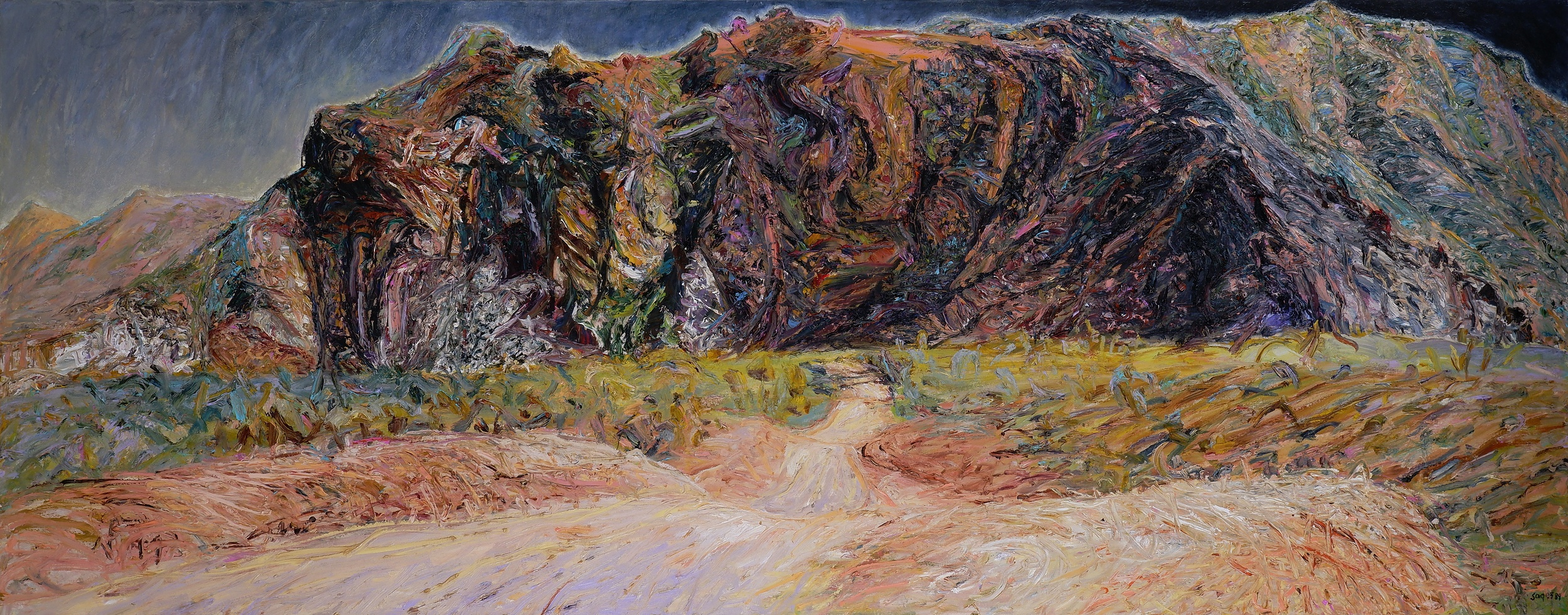 'Jenny Sages (born 1933), The Road to Bungle Bungle 1989, Oil on Canvas, 91 x 244 cm'