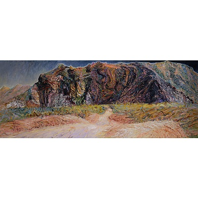 Jenny Sages (born 1933), The Road to Bungle Bungle 1989, Oil on Canvas, 91 x 244 cm
