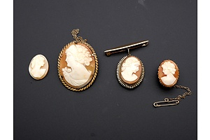 Three Vintage Shell Cameo Brooches and Another Unset Shell Cameo