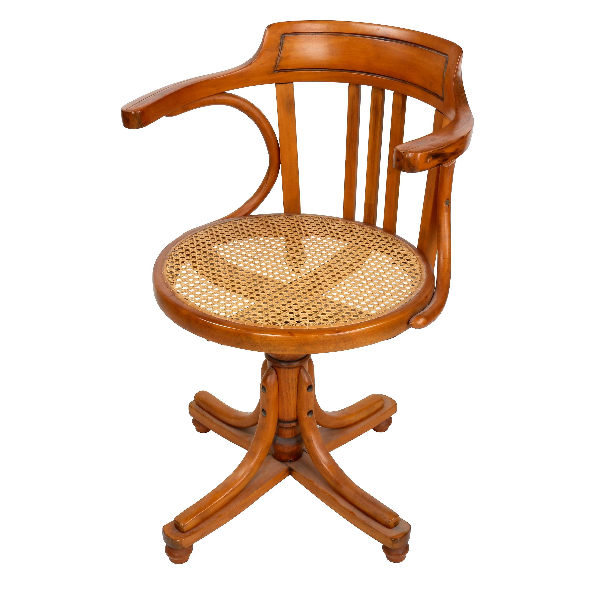 'European Beech Captains Chair with Woven Rattan Seat, Early 20th Century'