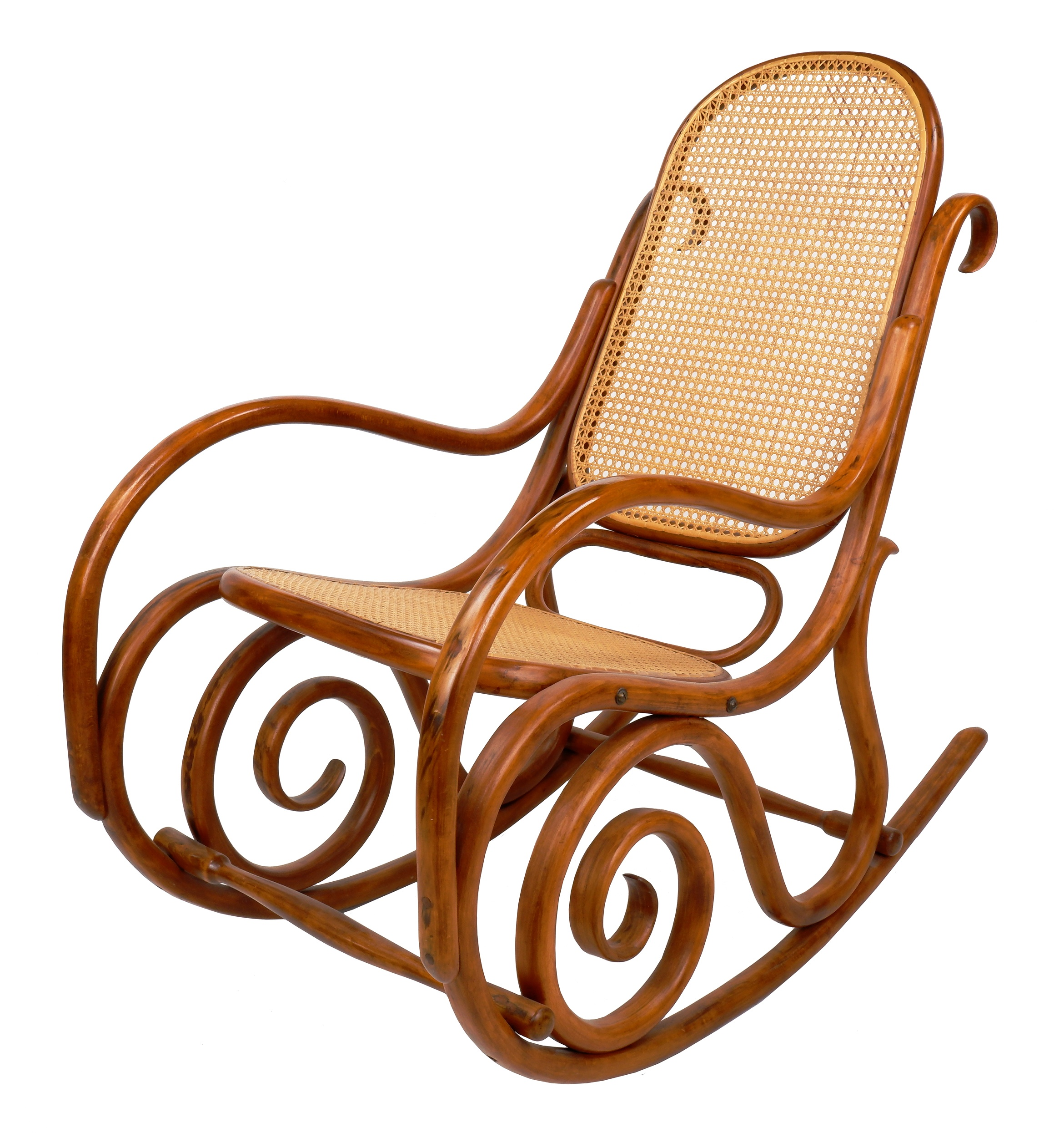 'Antique Bentwood Rocking Chair with Rattan Seat and Back, Early 20th Century'