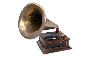 Antique Hand Cranked Gramophone with Original Horn