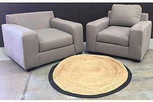 Two Light Brown Fabric Arm Chairs And A Round Jute Rug