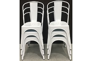 6 White Replica Tolix Dining Chairs