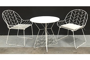 White Round Metal Outdoor Table With Painted Metal Frame And 2 Outdoor Chairs