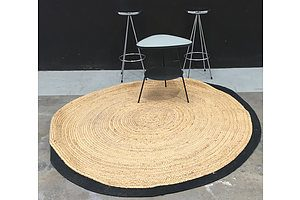 Chromed Metal Round Bar Stools, Black Metal Frosted Glass Topped Reuleaux Triangle Occasional Table  And A Round Jute Rug
