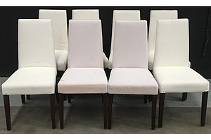 White Fabric Dining Chairs - Lot Of Eight