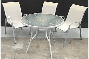 Frosted Glass Topped Round Outdoor Table With Powder Coated Metal Frame And 3 Outdoor Chairs