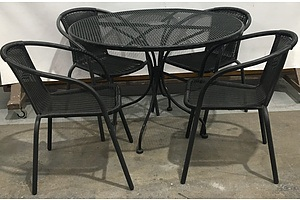 Woven Metal Topped Round Outdoor Table With Powder Coated Metal Frame And 4 Plastic Wicker Outdoor Chairs