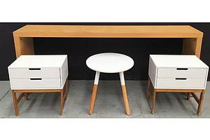 Timber Laminate Side Table, 2 White Painted MDF Bedside Tables, White Round Painted MDF Occasional Table - Lot Of Four