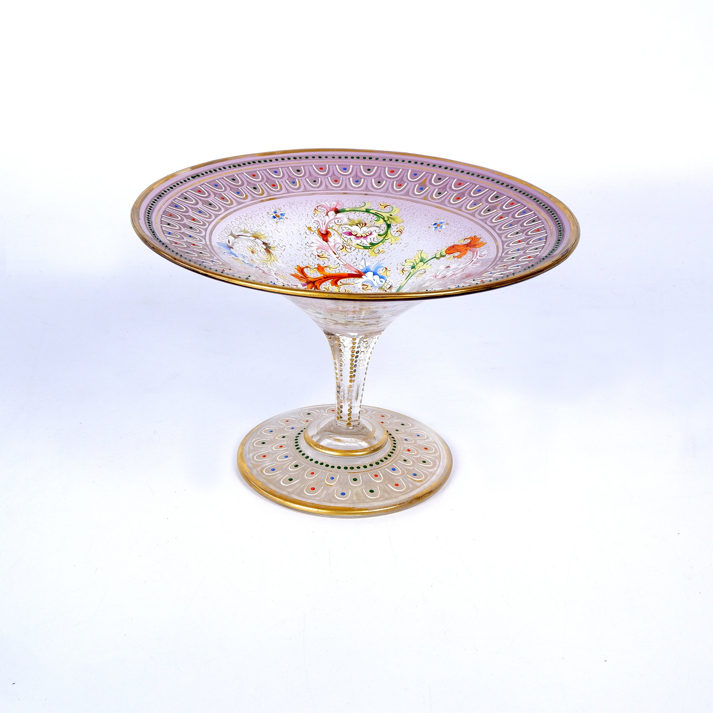 'Antique European Hand Blown, Gilt and Enamel Crystal Comport, Late 19th Century'