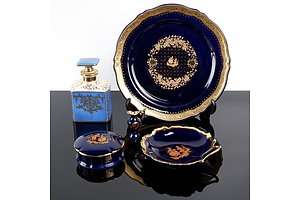 Collection of French Limoges Porcelain, Including Pin Box, Display Dish, Snuff Bottle and Pin Dish