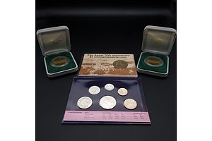 2000 Uncirculated Coin Set, ANZAC 75th Anniversary $5 Coin and Two 1988 Parliament House $5 Proof Coins
