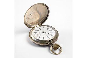 Engraved .800 Silver Cased 15 Rubis Spiral Breguet Pocket Watch