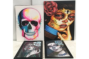Cinco De Mayo Themed Ready To Hang Paintings On Canvas - Lot Of Four