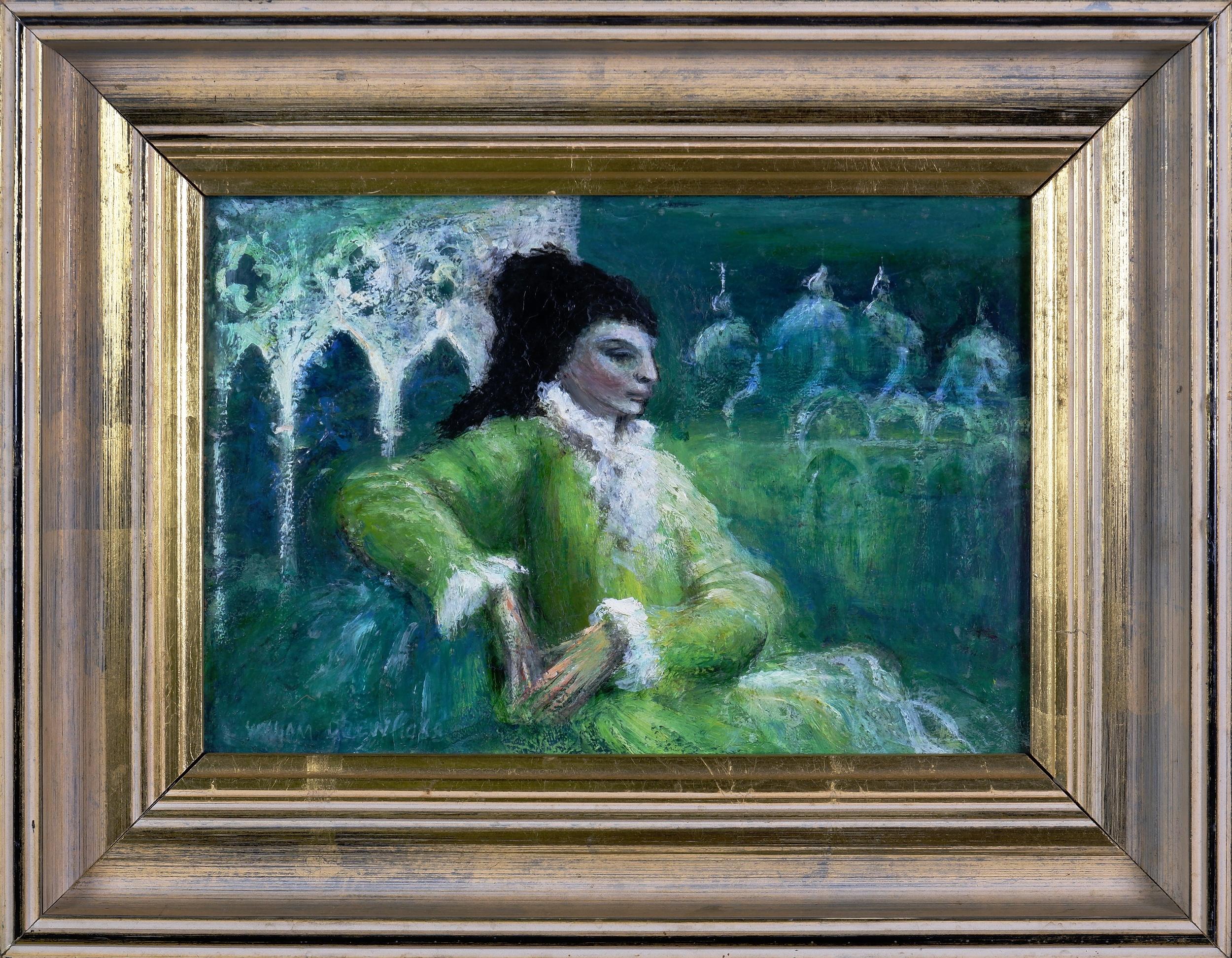 'William Drew (1928-1983), Venetian Lady 1968, Oil on Board, 16 x 23.5 cm'