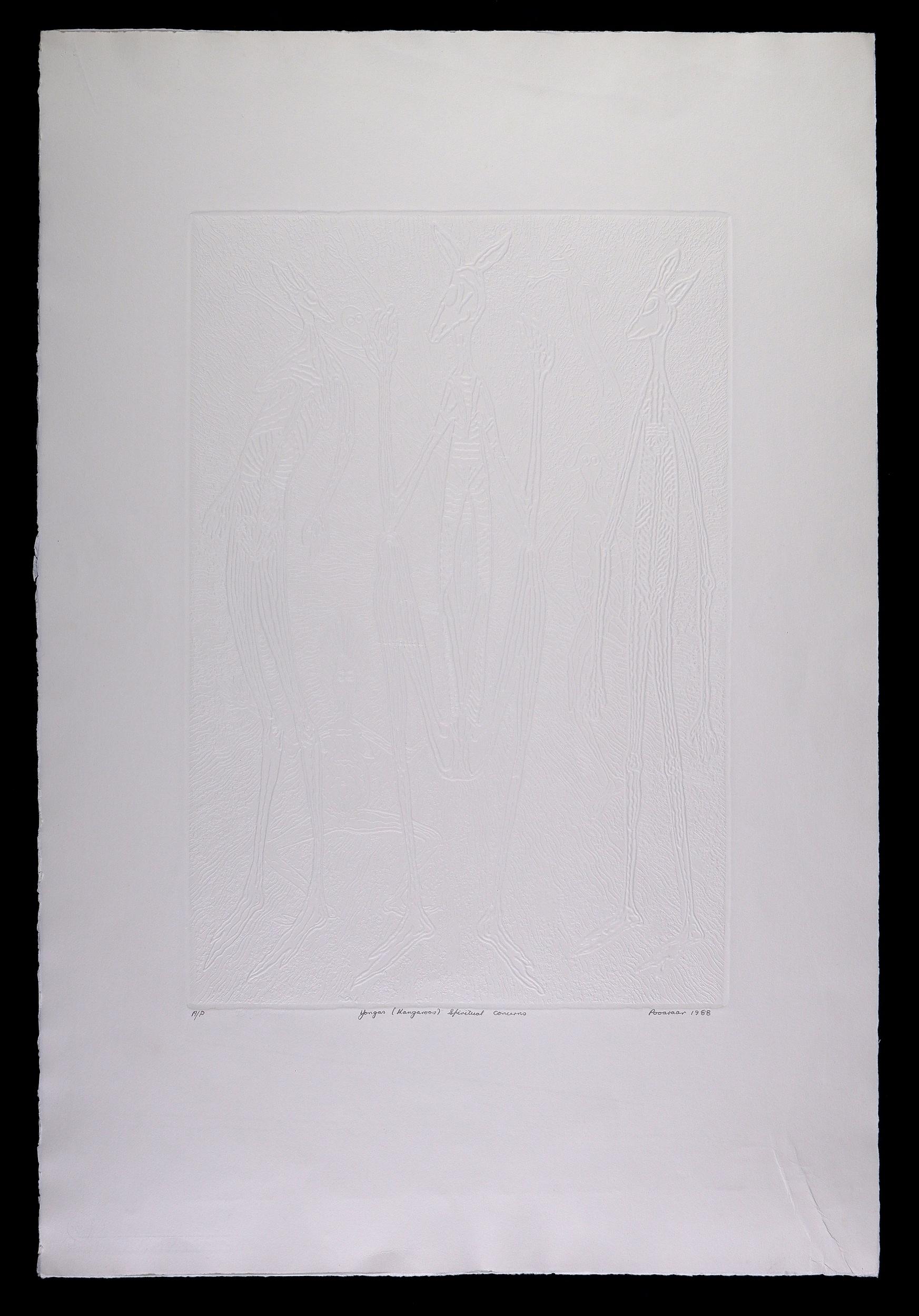 'Bevan Pooaraar Hayward (1939-2004, Goreng/Minang/Nyoongar peoples), Yongas (Kangaroos) Spiritual Concerns 1988, Embossing, Artists Proof, Edition of 90, 50 x 34 cm (image size)'