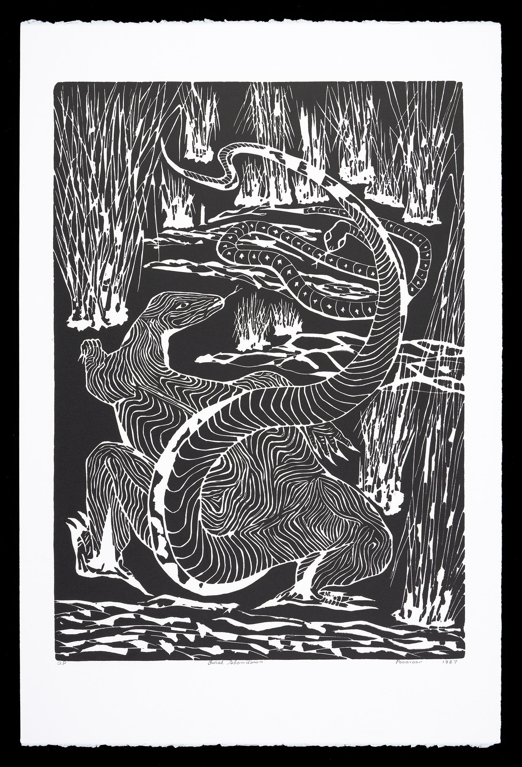 'Bevan Pooaraar Hayward (1939-2004, Goreng/Minang/Nyoongar peoples), Final Showdown 1987, Linocut, Artists Proof, Edition of 40, 46 x 32 cm (image size)'
