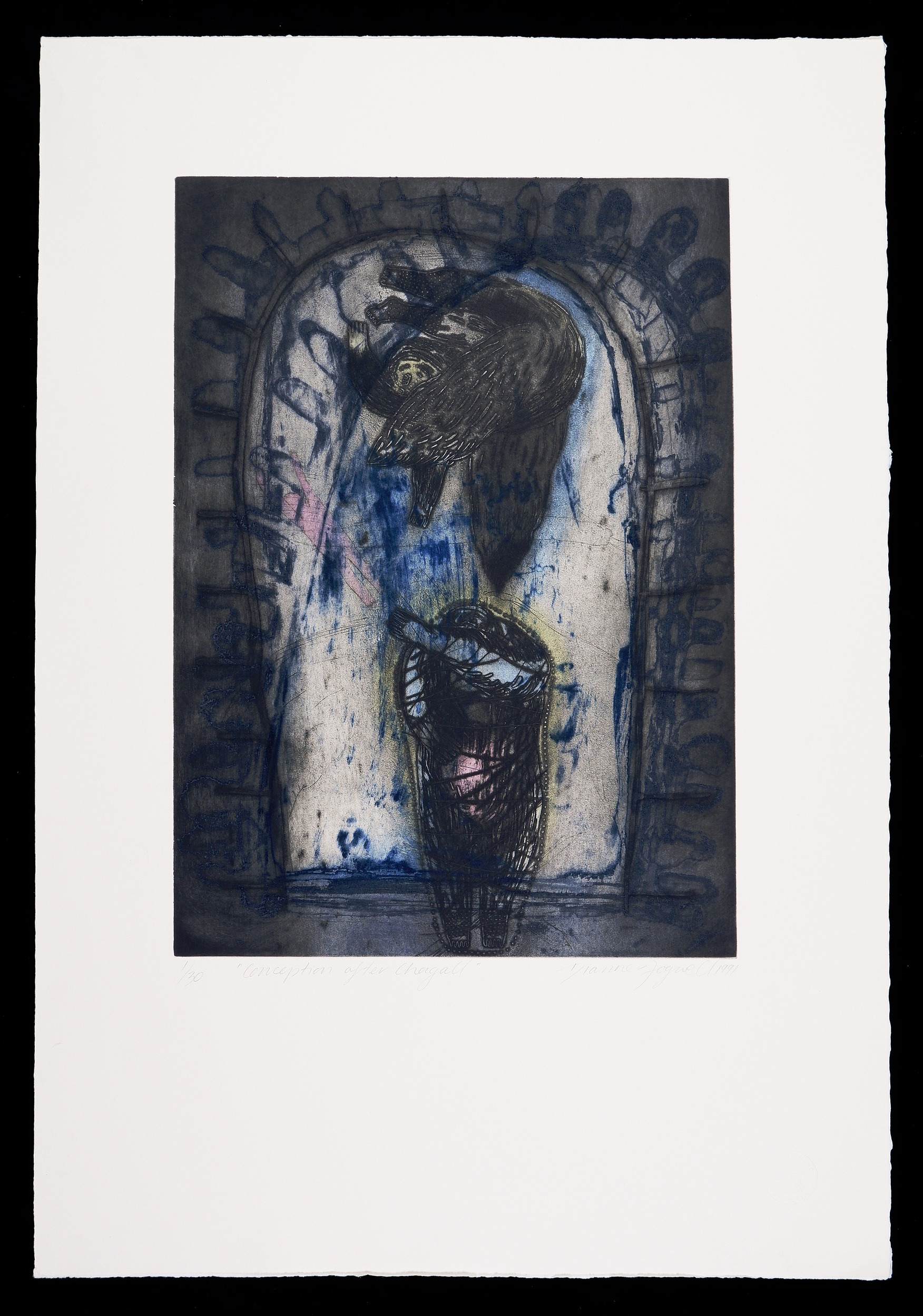 'Dianne Fogwell (born 1958), Conception After Chagall 1991, Collagraph Edition 1/30, 49.5 x 39.5 cm (image size)'