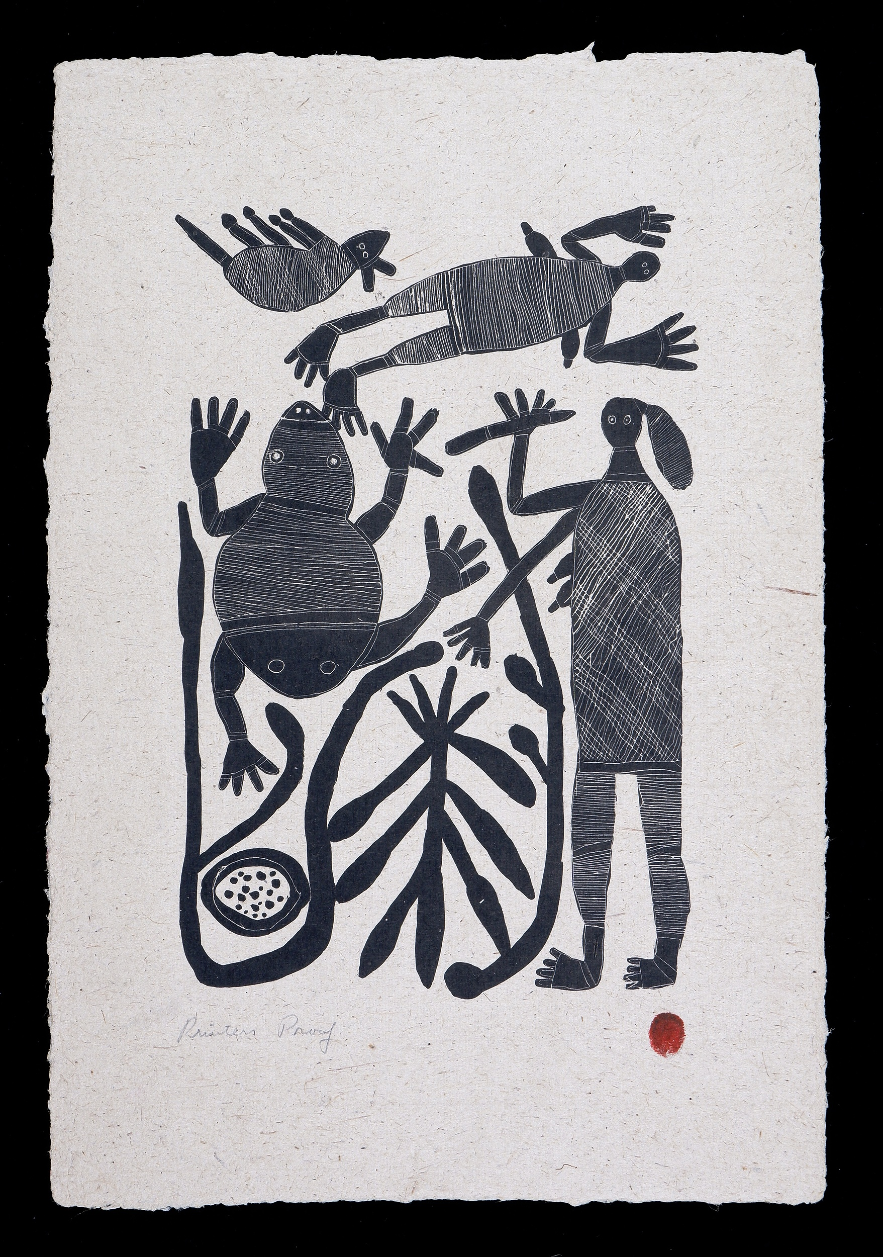 'England Bangala (1923-2001 Burarra/Gun-nartpa language group), Hunting Story 1984, Lithograph, Printers Proof from an Edition of 20, 41.5 x 20.5 cm (image size)'