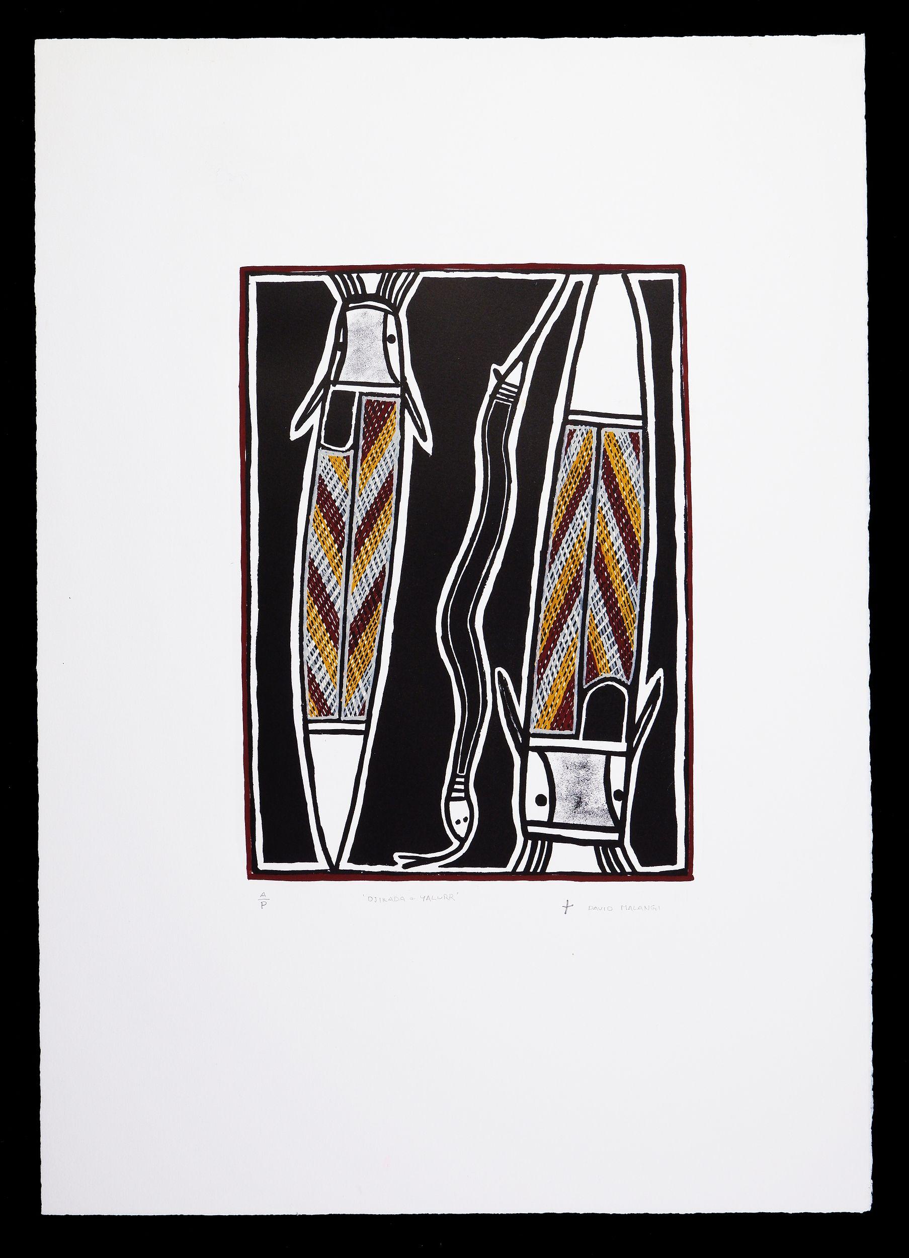 'David Malangi Daymirringu (1927-1999, Manharrngu language group), Djikada & Yallur (Catfish & Snake) 1994, Hand-Coloured Lithograph, Artists Proof, Edition of 30, 40 x 30 cm (image size)'