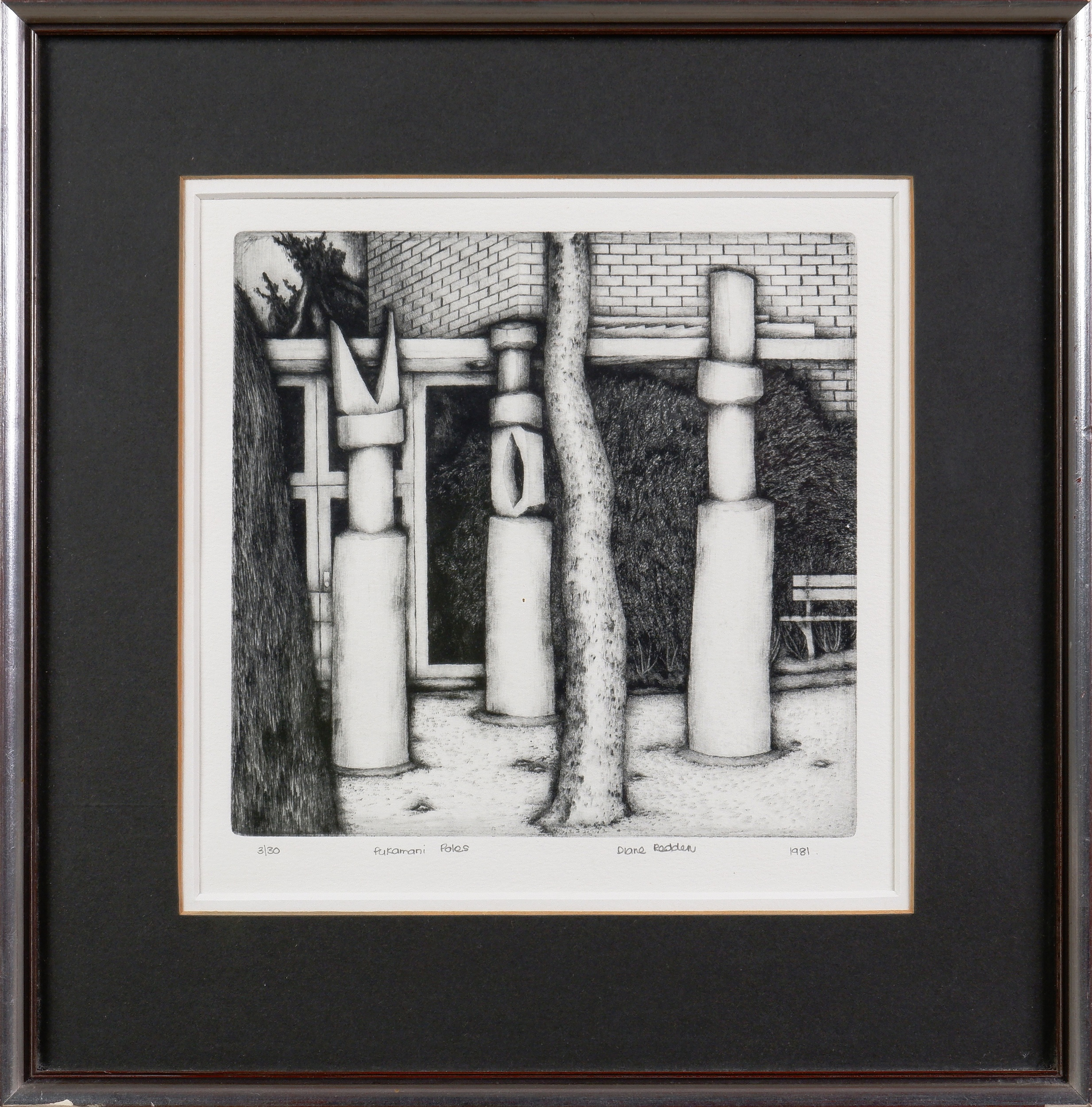'Diane Redden (20th Century, Australian), Pukamani Poles 1981, Etching and Drypoint Edition 3/30,18 x 18 cm (image size)'