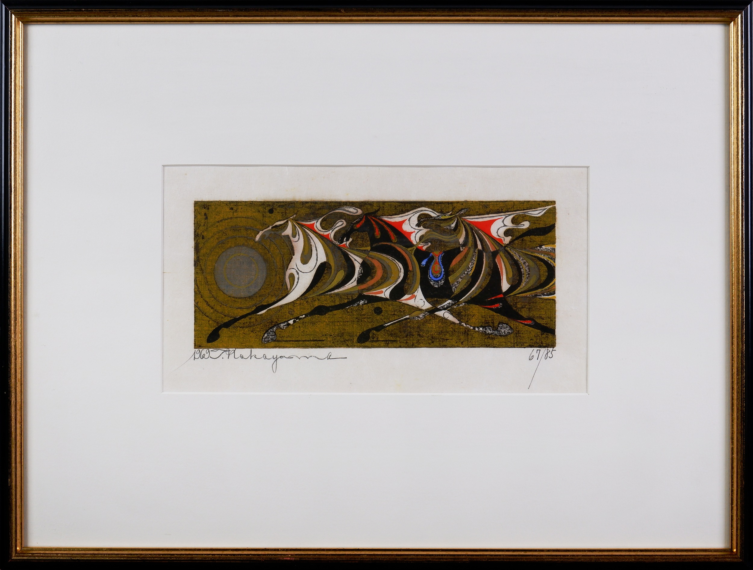 'Tadashi Nakayama (1927-2014, Japanese), Three Horses 1969, Woodblock Edition 67/85, 9.5 x 24 cm (image size)'
