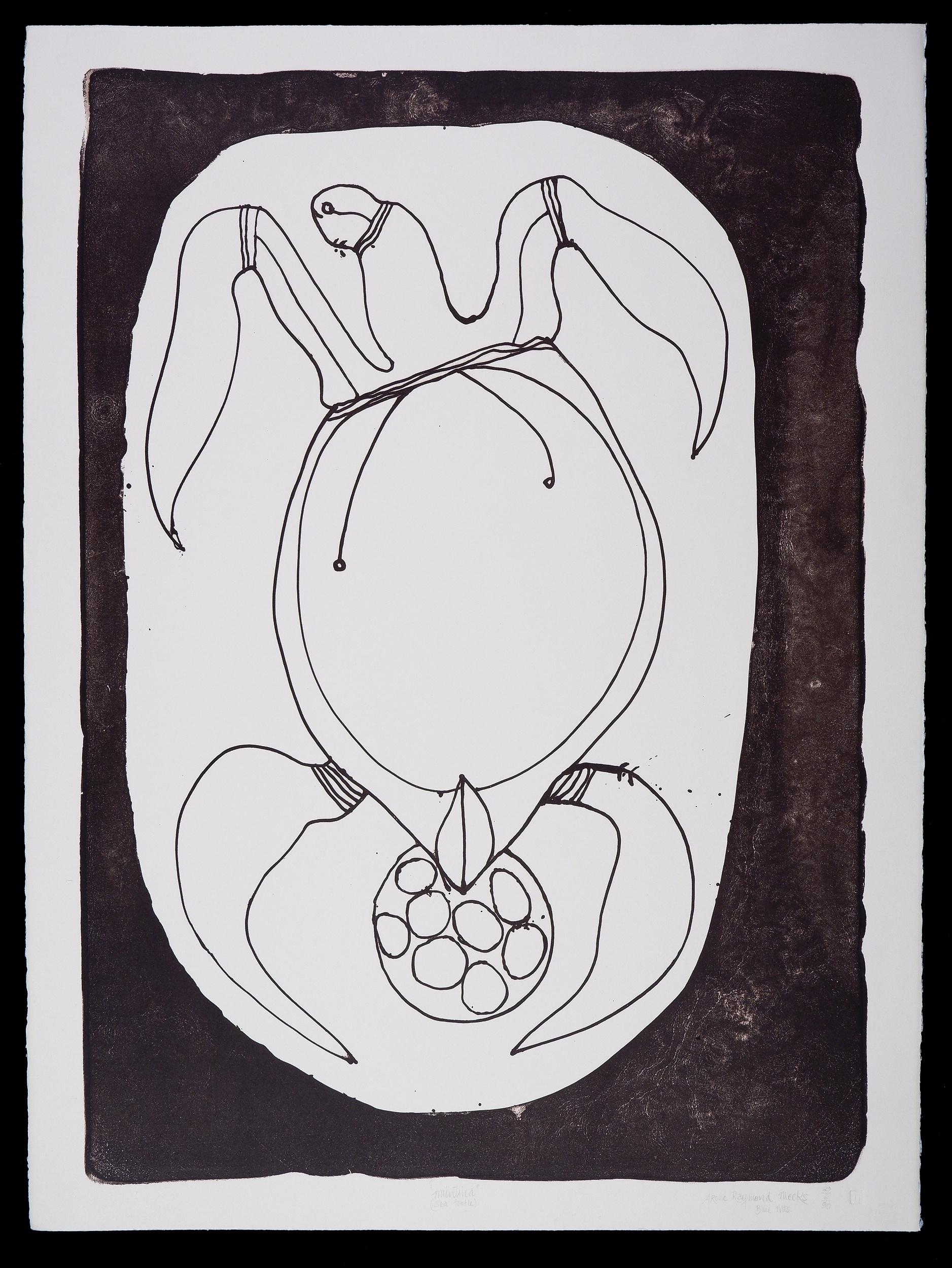 'Arone Raymond Meeks (born 1957, Kukumidjii/Kukulanadiji language group), Muntina (Sea Turtle) 1990, Lithograph, Edition of 30, 70 x 50 cm (image size)'