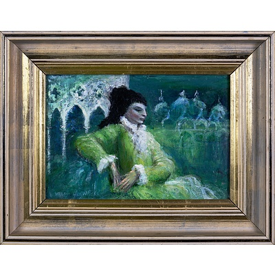 William Drew (1928-1983), Venetian Lady 1968, Oil on Board, 16 x 23.5 cm