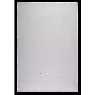Bevan Pooaraar Hayward (1939-2004, Goreng/Minang/Nyoongar peoples), Yongas (Kangaroos) Spiritual Concerns 1988, Embossing, Artist's Proof, Edition of 90, 50 x 34 cm (image size)