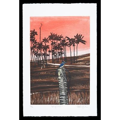 Pamela Griffith (born 1943), Kingfisher, Coloured Etching Edition 18/30, 45 x 30 cm (image size)