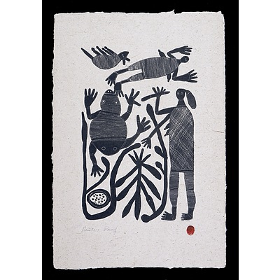 England Bangala (1923-2001 Burarra/Gun-nartpa language group), Hunting Story 1984, Lithograph, Printer's Proof from an Edition of 20, 41.5 x 20.5 cm (image size)