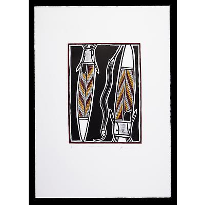 David Malangi Daymirringu (1927-1999, Manharrngu language group), Djikada & Yallur (Catfish & Snake) 1994, Hand-Coloured Lithograph, Artist's Proof, Edition of 30, 40 x 30 cm (image size)