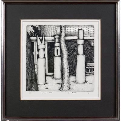 Diane Redden (20th Century, Australian), Pukamani Poles 1981, Etching and Drypoint Edition 3/30, 18 x 18 cm (image size)